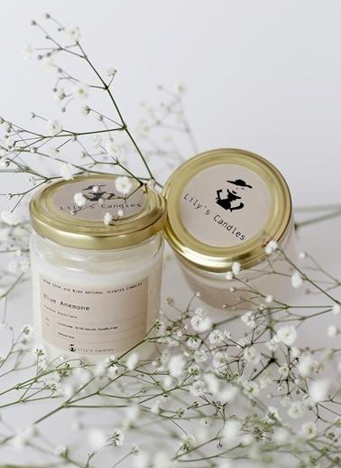Mavi Anemon Çiçeği Doğal Mum-Lily's Candles